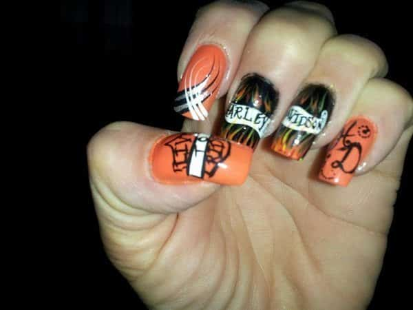 Orange and Black Harley Davidson Nails with Swirls, Shield Symbol, and HD Initials On Banner