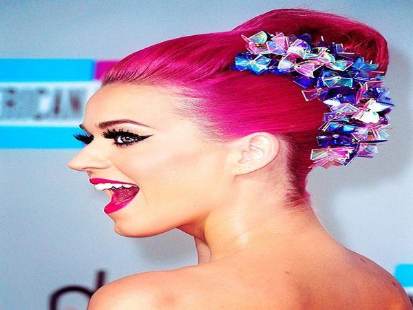 Neon Pink Katy Perry Updo With Rainbow Ribbon Decorations