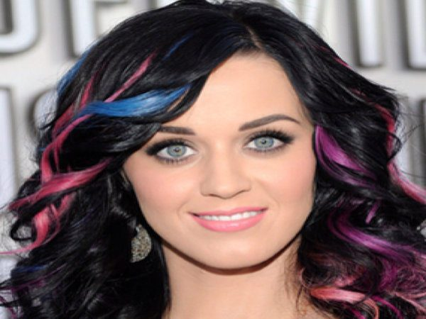 Katy Perry Black Curly Hair with Pink and Blue Streaks