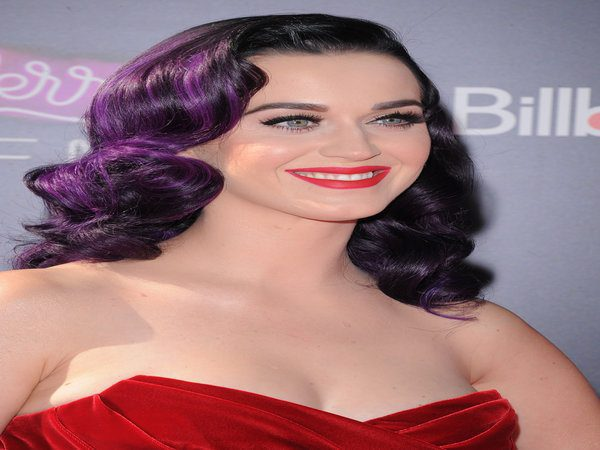 Katy Perry Black Curly Hair with Purple Highlights