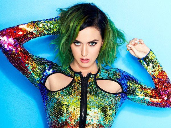 Katy Perry Black and Green Short Hair