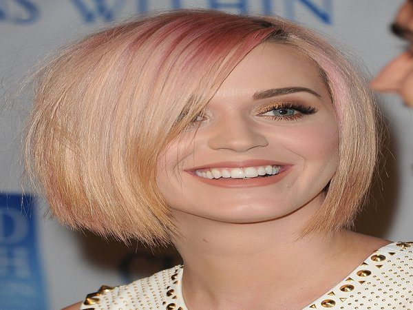 Katy Perry Pink and Blond Short Straight Hair