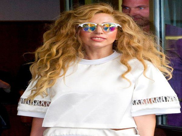 Lady Gaga with Long Curly Light Brown Hair
