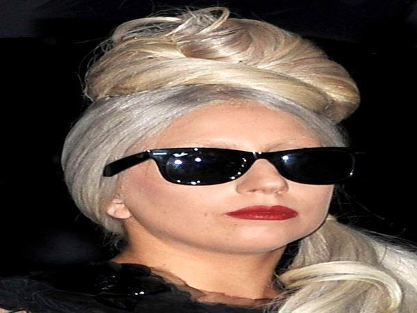 Lady Gaga with White Blond Hair Updo
