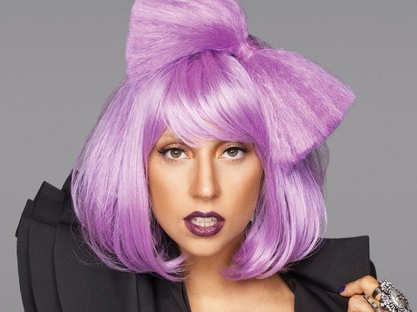 Lady Gaga with Short Purple Hair and Matching Purple Bow