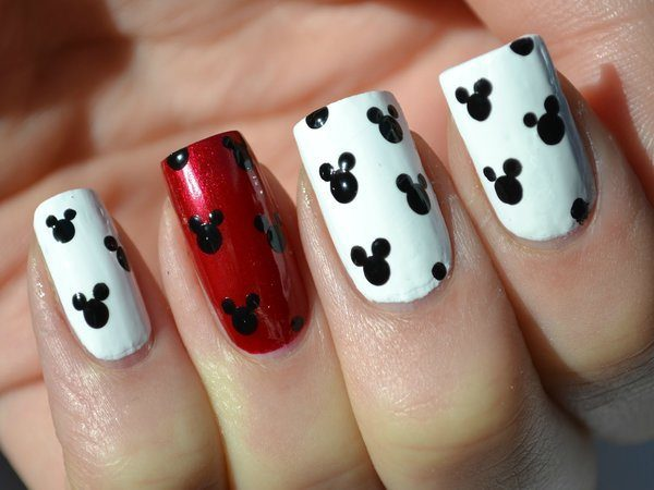 Red and White Nails with Mickey Mouse Ears