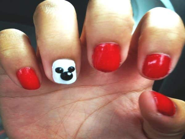Red and White Nails with One Nail of Mickey Mouse Ears
