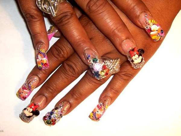 Minnie Mouse Nails with Jewels and Flowers