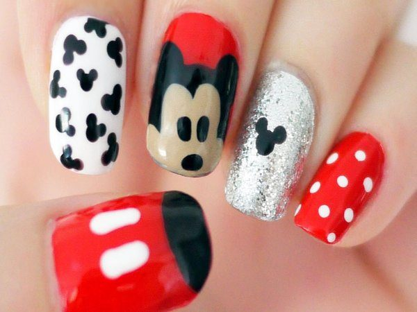 Red, White and Silver Nails with Mickey Mouse Ears, White Spots, Mickey's Face and Clothes