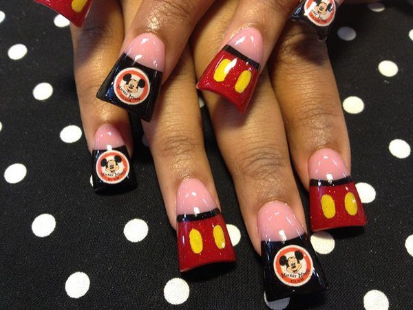 Wide Black and Red Nails with Mickey's Picture and Clothing with Yellow Spots