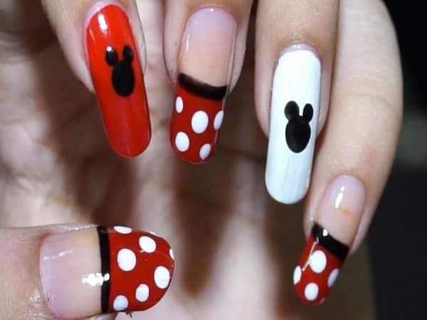 White and Red Nails with Mickey Ears and also Red Tips with White Spots