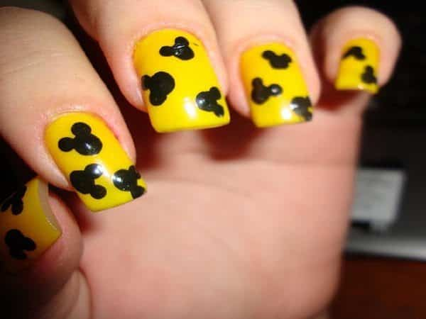 Yellow Nails with Black Mickey Mouse Ears