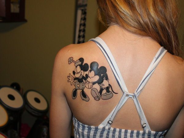 Black and White Mickey and Minnie Mouse Tattoo