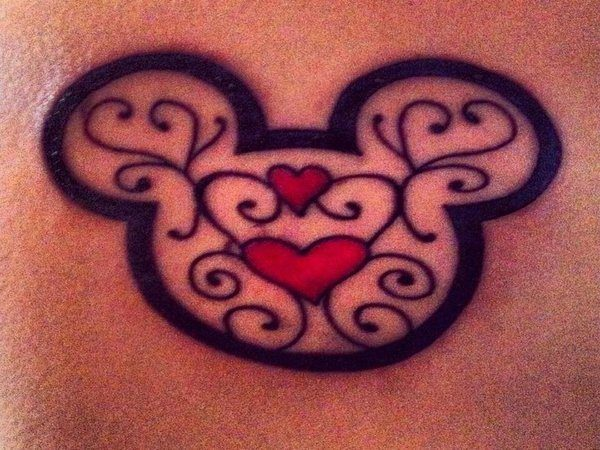 Mickey Mouse Outline with Lace and Hearts