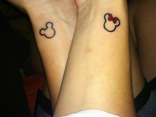 Mickey and Minnie Mouse Tiny Outlines On Wrists