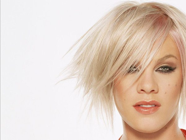 Pink with Short Blond Hair In Messy Look