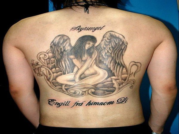 Naked Female Angel Sitting with Wings Tucked Tattoo