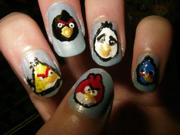 Silver Nails with Red, Yellow, White, Red, Blue and Black Angry Birds