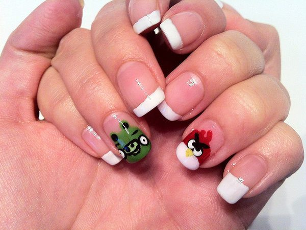 French Manicure Nails with Red Angry Bird and Green Pig