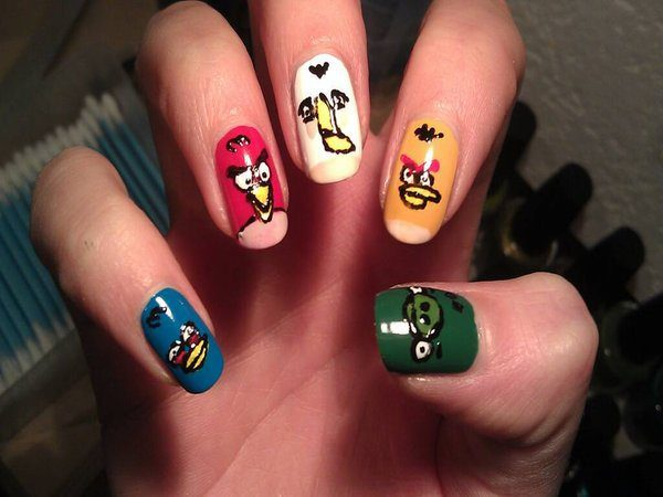 Blue, Red, White, Yellow Angry Birds Nails Pls One Green Piggy Thumb Nail
