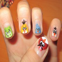 12 Totally Cool Angry Bird Nail Designs