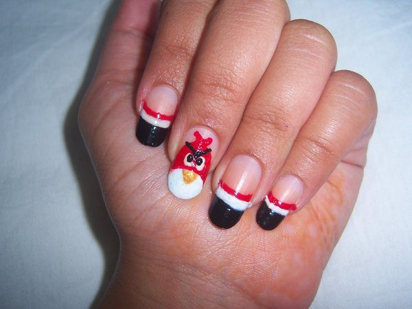 Plain Nails with Red Angry Bird Nail and Black Tips with White and Red Stripes