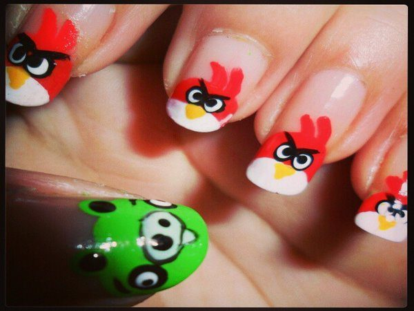 Plain Red Angry Bird Nails with Green Piggy Thumb Nail