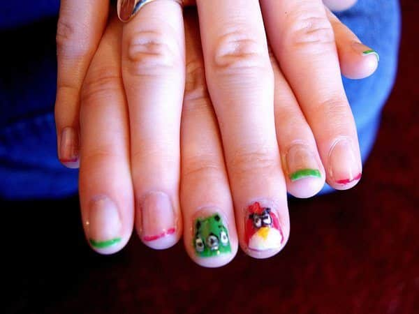 Clear Nails with Red and Green Striped Tips Plus Red Angry Bird Nail and Green Pig Nail