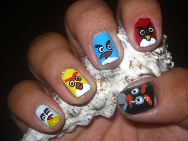 Red, White, Blue, Yellow, and Black Angry Birds Nails