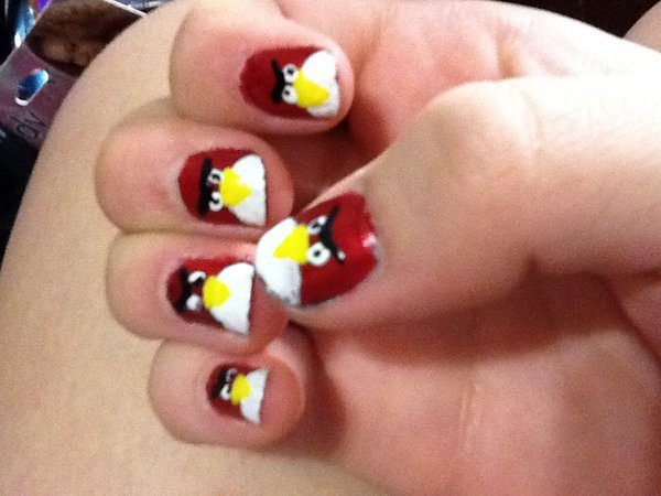 Red Angry Bird Nails