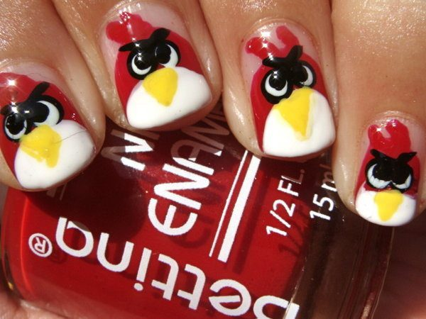 Clear Nails Painted with Red Angry Birds
