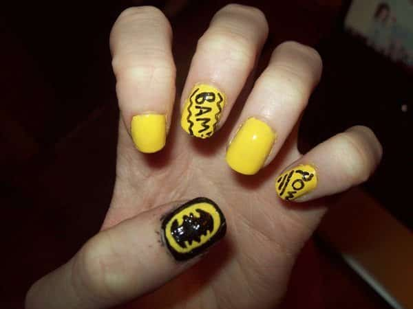 Yellow Nails with Words Bam and Pow Plus Black Nail with Yellow and Black Batman Symbol