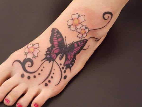 Purple Butterfly with Lines, Spots, and White Flower