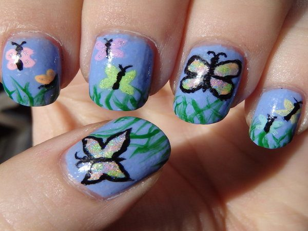 Light Blue Nails with Butterflies and Grass