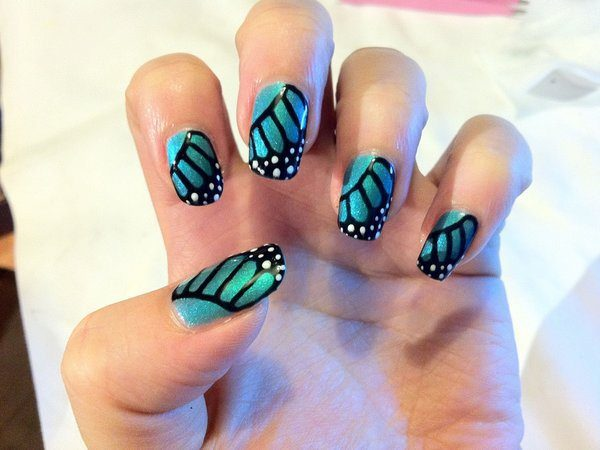 Turquoise and Black Butterfly Wing Nails with White Spots