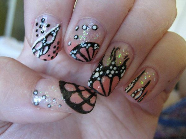 Clear Nails with Butterfly Wing Parts and White Spots
