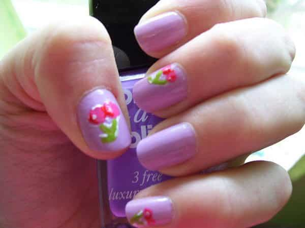 Purple Nails with Cherry Design