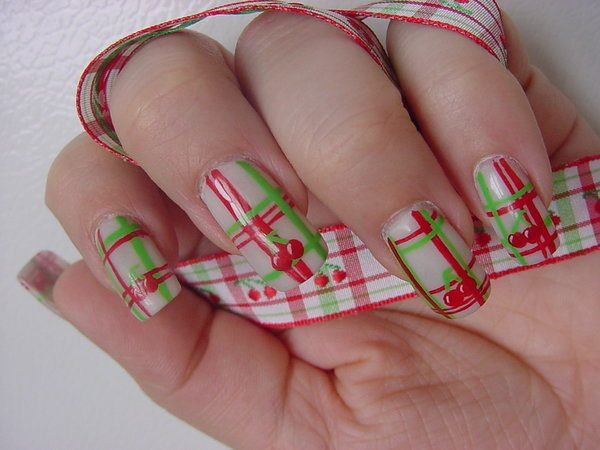 Red and Green Plaid Stripes on White Nails with Cherries