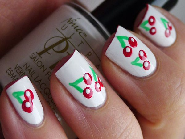 White Nails with Cherries and White Dots