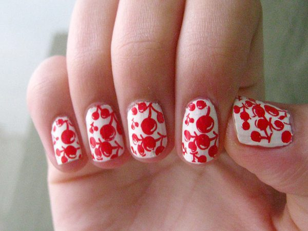 White Nails with Red Cherries
