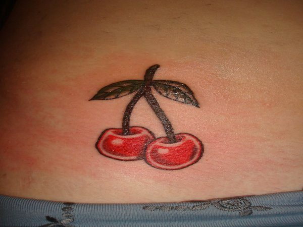 Shiny Cherries with Leaves Stomach Tattoo