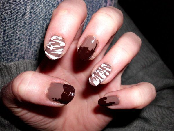 Chocolate Dipped and White Chocolate Drizzled Nails