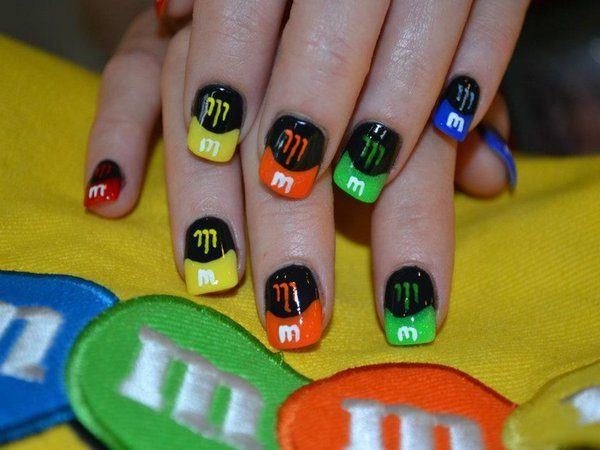 M & M Nails with Black Polish and Colored Tips