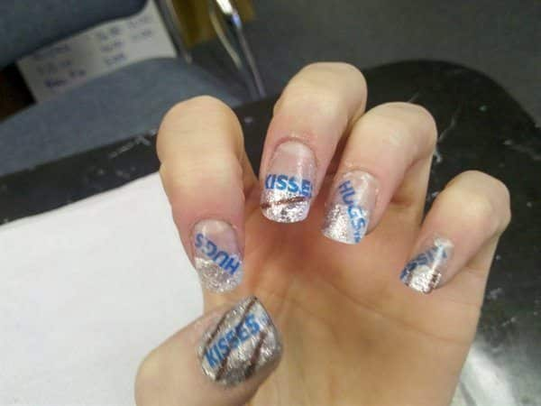 Hershey Kisses Nail Designs with Kisses Wrapper