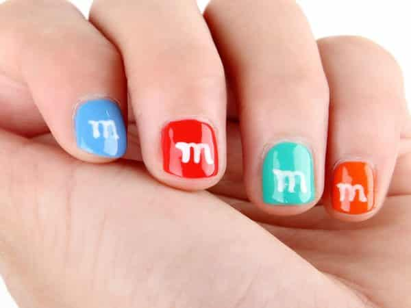 Red, Blue, and Orange M & M Nails