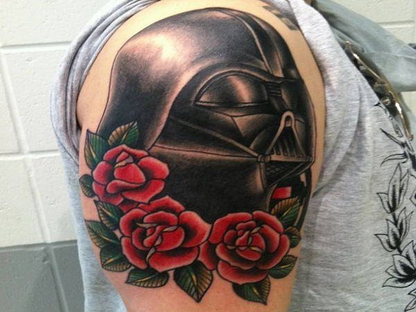 Darth Vader with Roses Tattoo