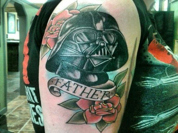Darth Vader Tattoo with Roses and Father Banner