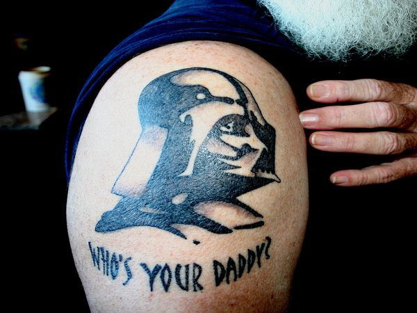 Darth Vader Profile Tattoo with Who's Your Daddy Words