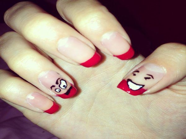 Red Tipped Nails with Facial Expressions