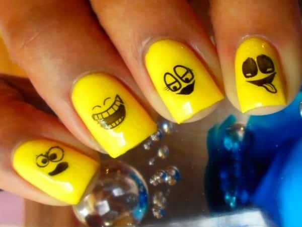 Yellow Nails with Facial Expressions